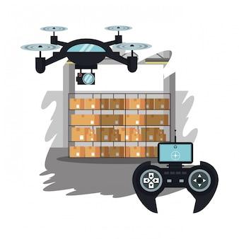 Drones em desenho animado de armazém