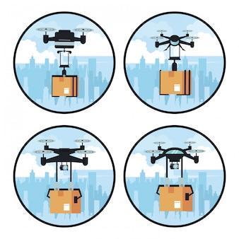 Drones entregando caixa