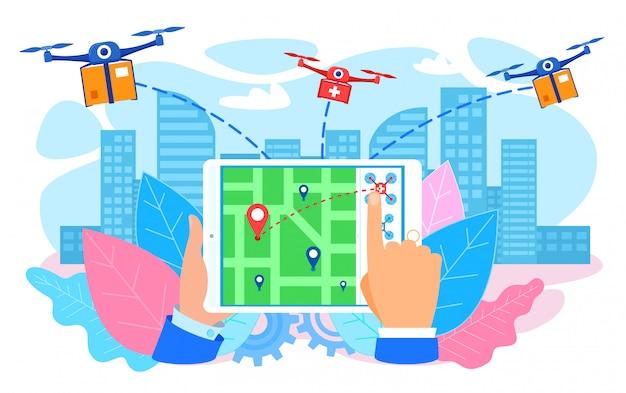Drones entregando parcela