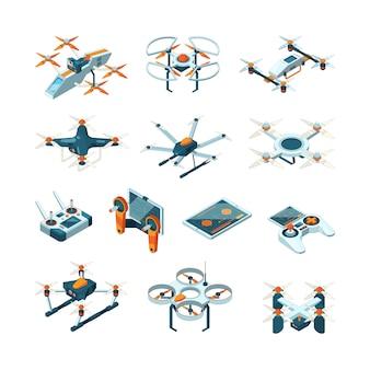 Drones. fotos de aviação técnica aérea inovação técnica isométrica