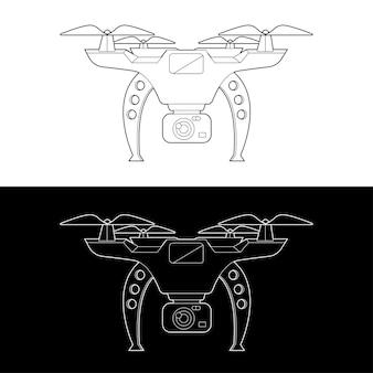 Drones gráficos traçado de contorno em preto e branco ilustrar