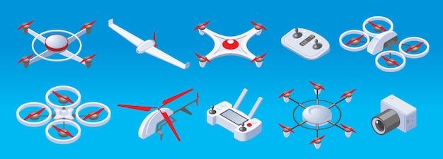 Drones isométricos modernos com dois, três, quatro, seis, hélices, drones, controle remoto e câmera isolada
