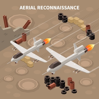 Drones quadrocopters composição isométrica com imagens de aeronaves militares voadoras realizando reconhecimento e diferentes objetos no solo