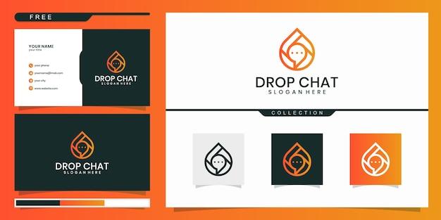 Drop chat design de logotipo moderno e cartão de visita