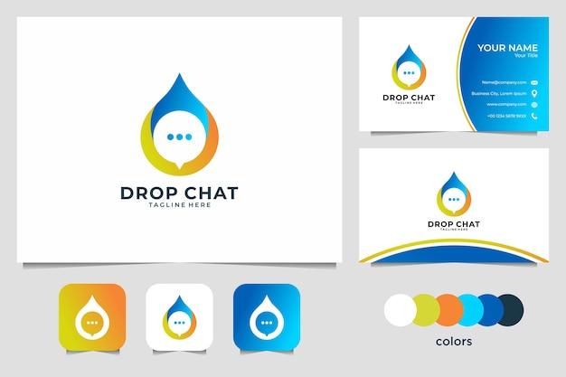 Drop chat logotipo e cartão de visita modernos
