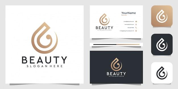 Drop em estilo moderno. bom para marca, ícone, publicidade, negócios, empresa, arte de linha, água, onda e cartão de visita