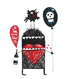 Drunker monstro segurando a garrafa com balão de bebida e pássaro