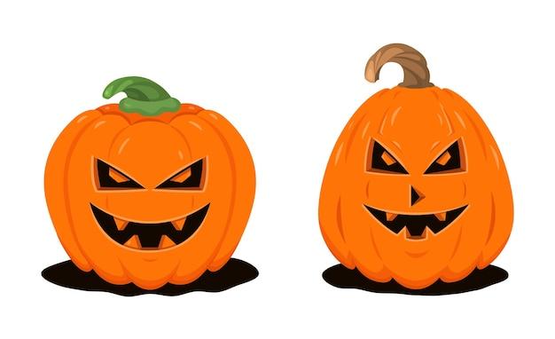 Duas abóboras de halloween em estilo cartoon