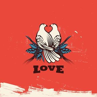 Duas adoráveis pombas com coração
