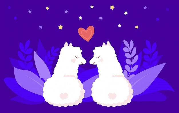 Duas alpacas ou lhamas, noite romântica de amor. personagem de desenho animado plana, sorrindo animal. lhamas bonitos crianças brancas com corações e estrelas