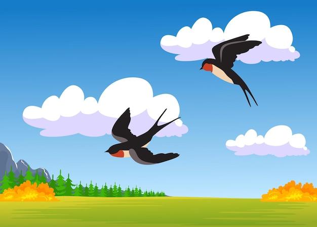 Duas andorinhas de desenho animado voando sobre o campo de outono. ilustração plana