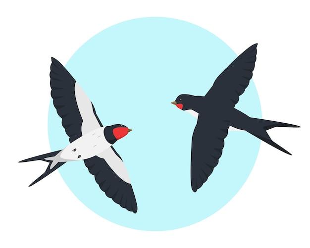 Duas andorinhas voadoras no céu