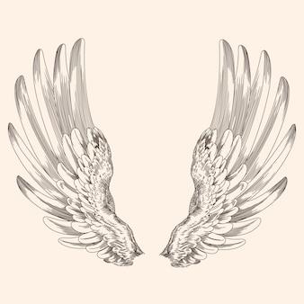 Duas asas abertas de um anjo feito de penas isoladas em um fundo bege.