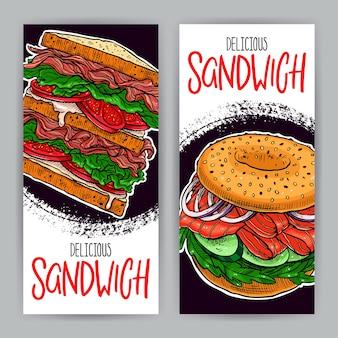 Duas bandeiras de deliciosos sanduíches. ilustração desenhada à mão