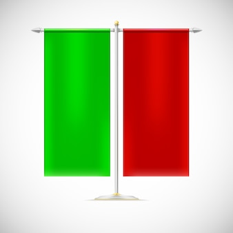Duas bandeiras em stand.