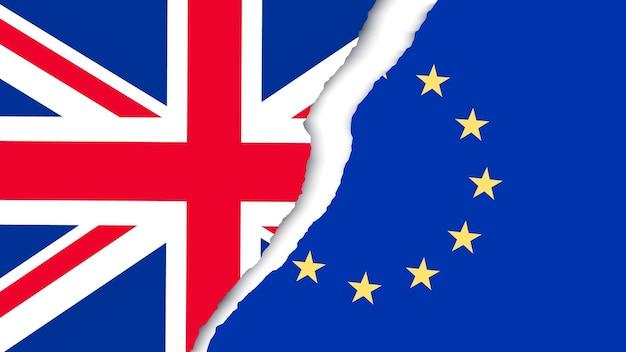 Duas bandeiras rasgadas - ue e reino unido. conceito brexit. vetor.