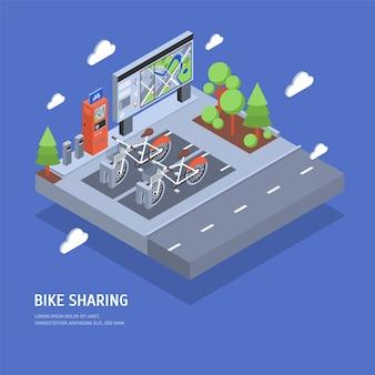 Duas bicicletas estacionadas na estação de ancoragem na rua da cidade, terminal de pagamento, estande com mapa, árvores e estrada