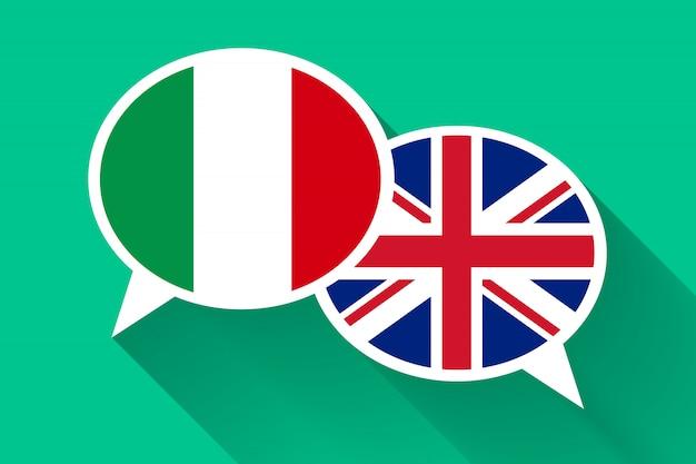 Duas bolhas do discurso branco com bandeiras da itália e da grã-bretanha