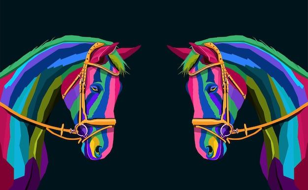 Duas cabeças de cavalo coloridas com arte pop geométrica abstrata