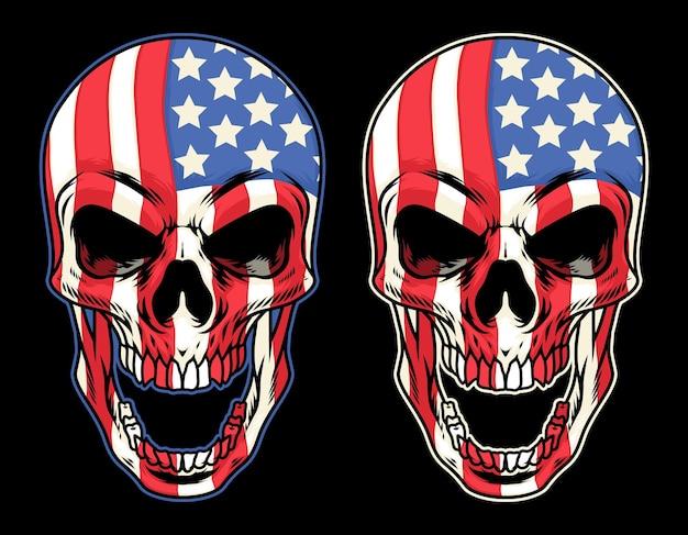Duas cabeças de caveira coloridas com as cores da bandeira americana em fundo isolado