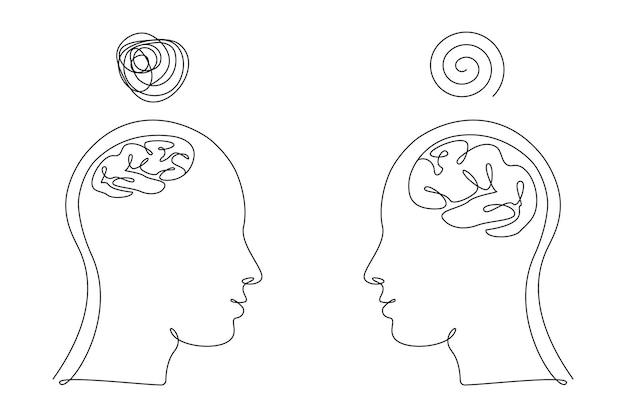 Duas cabeças humanas com cérebros grandes e pequenos e pensamentos confusos em um estilo de arte de linha. ilustração de desenho contínuo. vetor linear abstrato para folheto de medicina, banner, folheto, cartaz