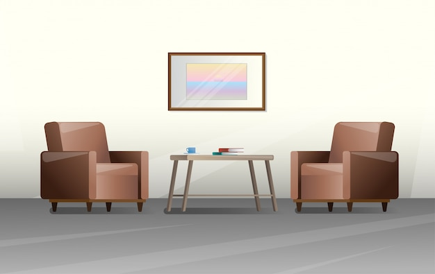Duas cadeiras e uma mesa em um quarto