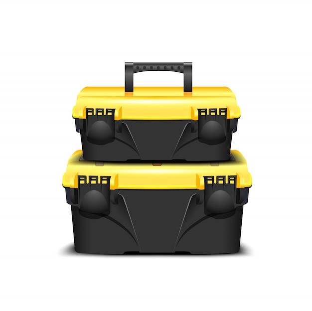 Duas caixa de ferramentas de plástico preto, tampa amarela sobre um fundo branco. kit de ferramentas para construtor ou loja industrial. caixa realista para ferramentas