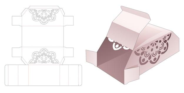 Duas caixas de ackaging chanfradas com molde de mandala recortado em estêncil