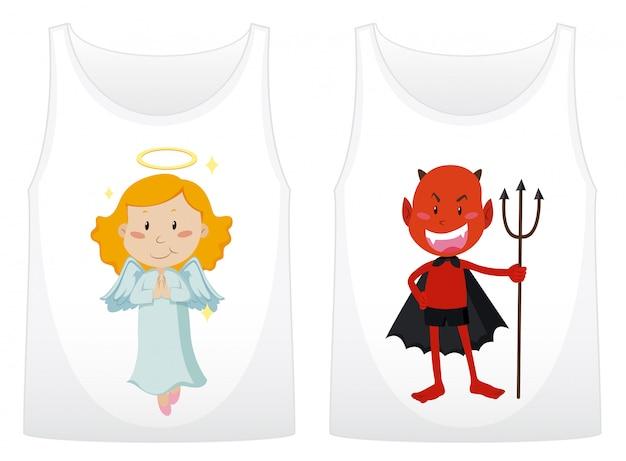 Duas camisas com anjo e demônio