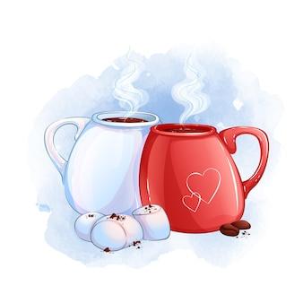 Duas canecas com uma bebida quente. sobremesa com marshmallows brancos e grãos de café. fundo aquarela.