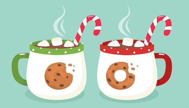 Duas canecas quentes com chocolate quente, doces e marshmallows. ilustração.