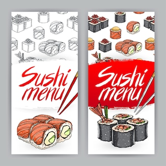 Duas capas fofas para menu de sushi. ilustração desenhada à mão