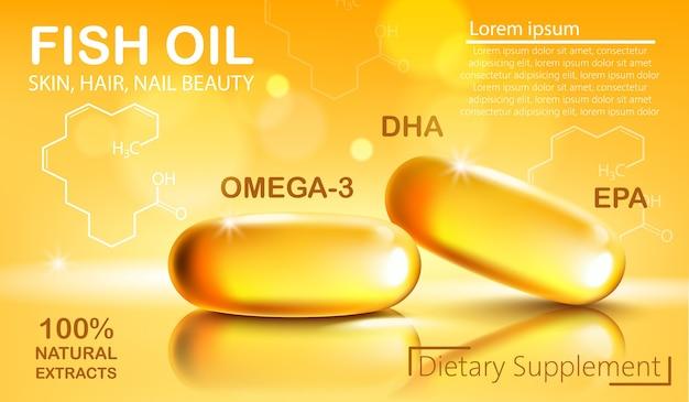 Duas cápsulas brilhantes com extrato natural de óleo de peixe para a pele