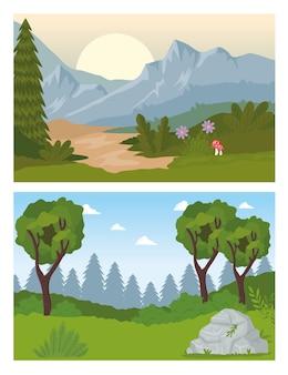 Duas cenas de paisagens com desenho de árvores florestais