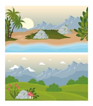Duas cenas de paisagens com flores e design de praia