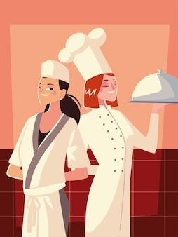 Duas chefs femininas em uniforme branco e chapéu com ilustração de serviço de prato