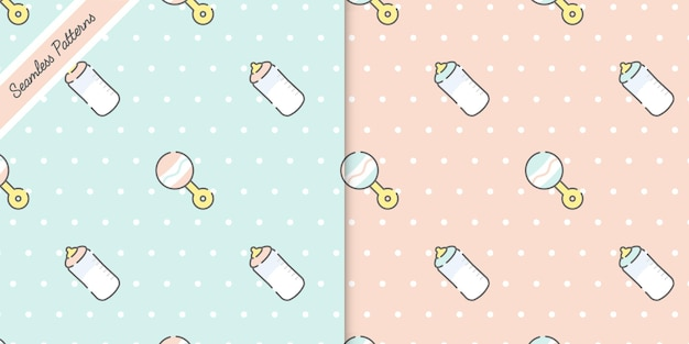 Duas cores pastel fofas padrões sem emenda de bebê definir vetor premium