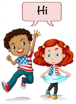 Duas crianças americanas dizendo oi