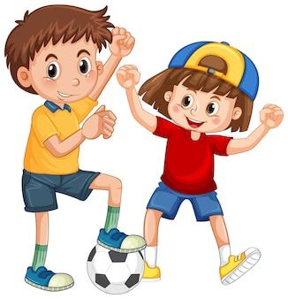 Duas crianças brincando de personagem de desenho animado de futebol