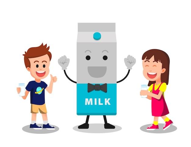 Duas crianças com personagens alegres da caixa de leite