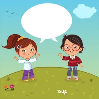 Duas crianças conversando sobre ilustração