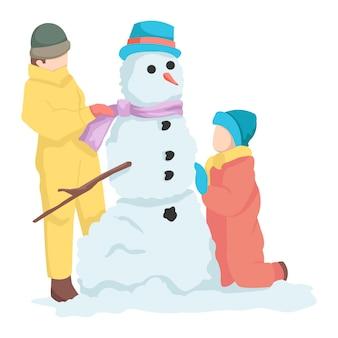 Duas crianças criativas estão brincando com o boneco de neve que fizeram