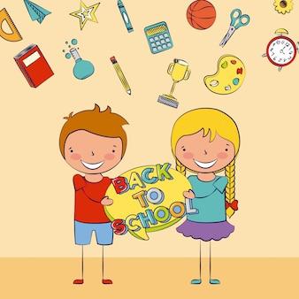 Duas crianças de volta à escola com alguma ilustração de elementos da escola