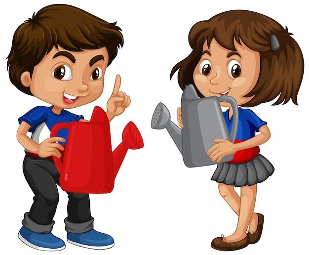 Duas crianças diferentes segurando um regador