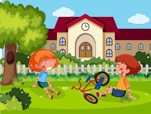 Duas crianças feridas na bochecha e no braço por andar de bicicleta na cena da escola