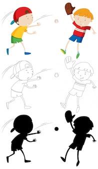 Duas crianças jogando beisebol em cores, contornos e silhueta