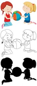Duas crianças jogando bola na cor e no contorno e silhueta