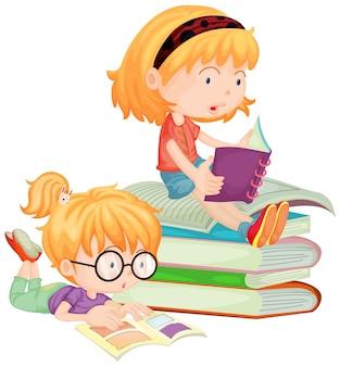 Duas crianças, leitura, livros, em, escola