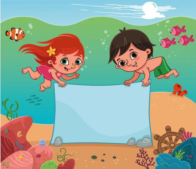Duas crianças segurando um cartaz no fundo do mar. ilustração vetorial