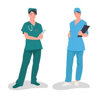 Duas enfermeiras lindas em comemoração ao dia internacional da enfermeira